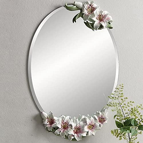 zcyg Espejo baño Espejos Pared Mirror Espejos De Pared, Espejo De Pared Europeo Colgando Pastoral Medio Espejo De Espejo Espejo Decorativo Tallado Espejo(Color:Rosado)