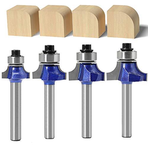 """WSOOX 4 Stück Abrundfräser Standard Fräser Set für Holz mit 6.35 mm Schaft, Fräser für Oberfräse(Radiuses: 1/8\"""", 5/32\"""", 3/16\"""" & 1/4\"""")"""