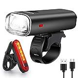 WQJifv LED Fahrradlicht Set, StVZO Zugelassen Superhelle 400 Lumen USB Wiederaufladbare Frontlicht und Rücklicht Set, 2000mAh Fahrradlampe IPX5 Wasserdicht Licht für Fahrrad, Mountainbike