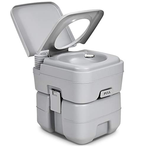 YITAHOME Portable Toilet Travel RV Potty,5.3 Gallon Detachable Waste Tank for Effortless Cleaning, Press Flush Pump,for Camping, Boating,Hiking,Trips