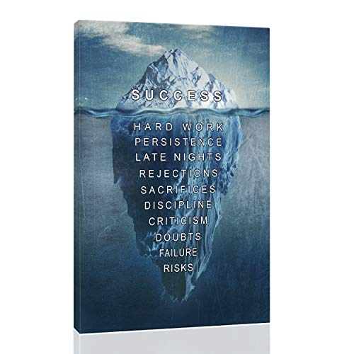 Eqoya Inspirational Wall Art Posters for Home Office, College Dorm, Motivational Quote Decor Canvas, Encouraging Positive Growth Mindset Quotes for Classroom (12'W x 18'H Success - Iceberg)