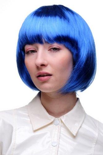 Perruque bleue, carré plongeant sexy, style Disco, Go-go, idéal pour soirée