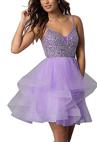 Adela Women's V Neck Beaded Homecoming Dresses Spaghetti Sequins Tulle Short Prom Cocktail Party Gown AR121 Lavender