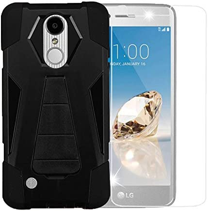 Black Rugged Shockproof Case w Kickstand Cover Scratch Proof Tempered Glass Screen Protector product image
