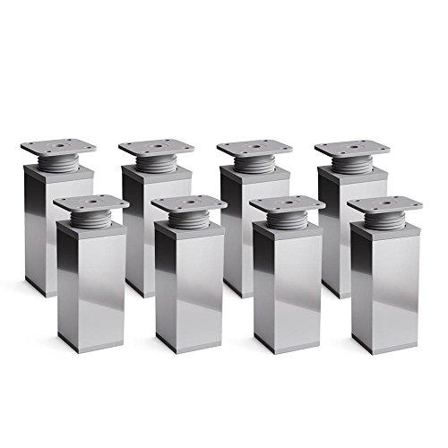 Design-Möbelfüße 2 x 4er Set (8 Stück), höhenverstellbar | Vierkant-Profil: 40 x 40 mm | Sossai® MFV1-CH100-8 | Farbe: Chrom | Höhe: 100mm (+20mm) | Material: Aluminium | Holzschrauben inklusive
