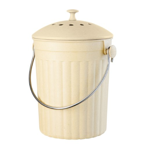 Learn More About Oggi Countertop Compost Pail with Charcoal Filter, Made from Bamboo Fiber