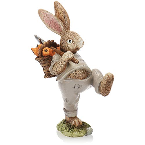 com-four® Conejito de Pascua Decorativo Hecho de cerámica Fina - Figura Decorativa artística para decoración de Pascua - conejitos Decorativos como Soporte (1 Pieza 23cm Hombre + Cesta)