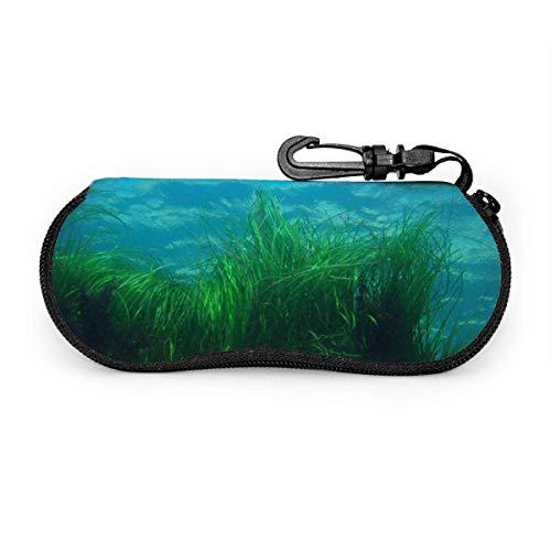 Carneg Tragbare Seegras-Sonnenbrille mit Verschlussschnalle Soft Bag Ultraleichtes Tauchgewebe Reißverschluss-Brillenetui