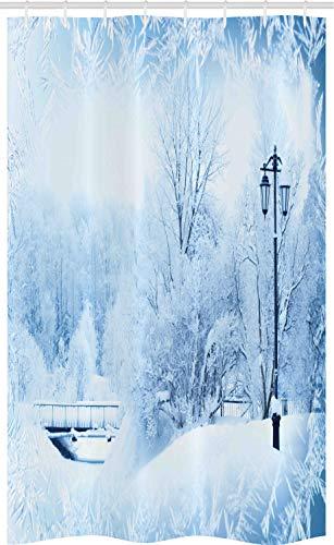 ABAKUHAUS Winter Schmaler Duschvorhang, Wonderland Weihnachtsfeiertags, Badezimmer Deko Set aus Stoff mit Haken, 120 x 180 cm, Blau