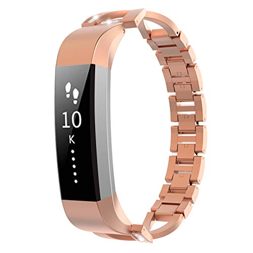 TiMOVO Metal Band Compatible with Fitbit Alta/Alta HR, Unique X-Link Replacement Band Bracelet Strap with Sparkling Inlaid Diamonds for Women, Girls - Rose Gold
