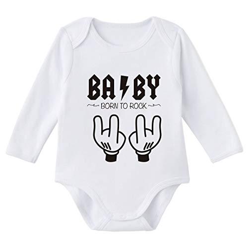 SUPERMOLON Body bebé manga larga Baby Born to rock Blanco algodón para bebé 0-3 meses