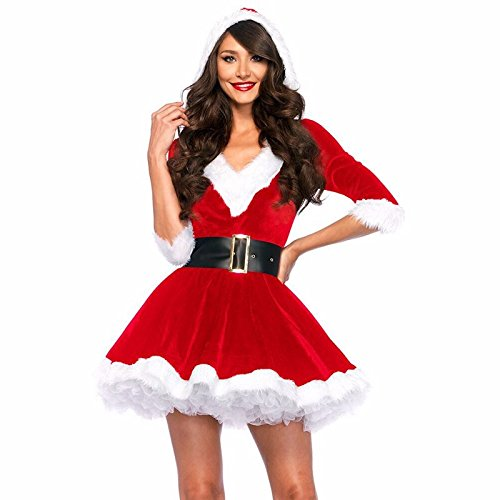 takestop Vestito Vestitino Donna Velluto con Cappuccio Taglia Unica Completino Costume Maschera con Cintura Giacca Miss di Babbo Natale Elfo