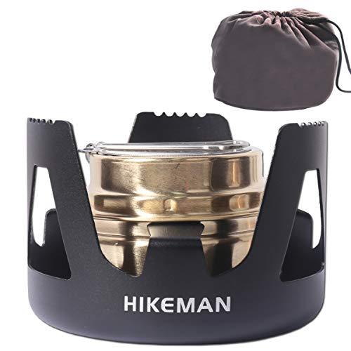 Hikeman Spirit Burner Lightweight Backpacking - Brass Ultra-Light Alcohol Stove For Hiking, Camping, BBQ, Picnic, Outdoor To Boil Water, Make Coffee, Cooking, Portable Meths Burner (black)