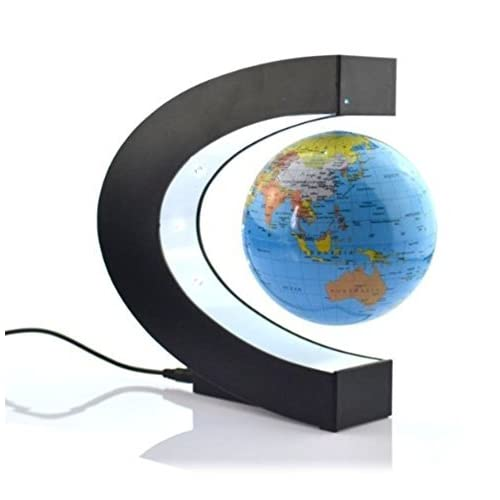 E-Plaza C Shape Floating Globe with LED Lights Magnetic Field Levitation Education Globe for Home Office Decoration