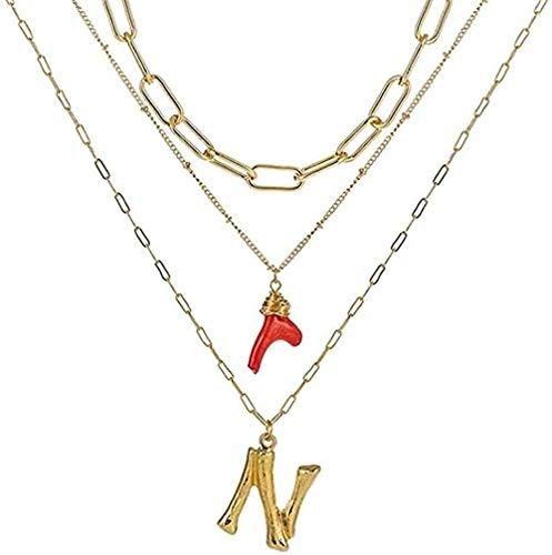 ZHIFUBA Co.,Ltd Collar Collar Inicial Oro bambú Letra Iniciales Nombre Collares Colgante de Coral Rojo Cadena de eslabones para Mujer Regalo de cumpleaños Collar Regalo