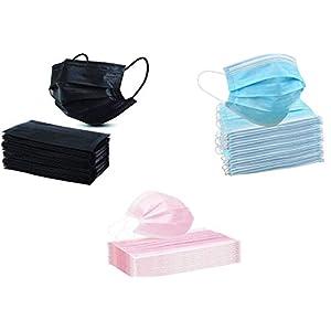 KAV® 300 maschere monouso a 3 strati (100 blu, 100 nero e 100 rosa)   copertura viso   alta filtrabilità, adatto per pelli sensibili e traspiranti