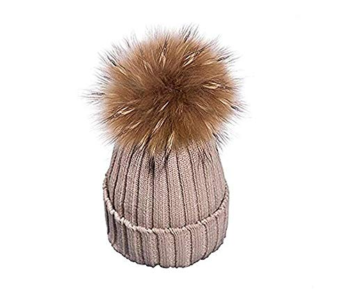 EXQULEG Warm Mütze, Echtfellbommel Pudelmütze,Winter-Mütze Bommelmütze Pelzbommel Waschbär Raccoon Pelz (Khaki)