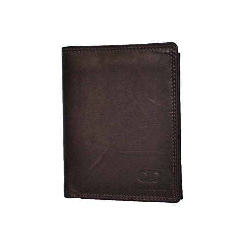 Schwarze, Braun Oder Tan Ledergeldbörsen aus echtem Leder in Hochformat - AL-3105 (Braun)