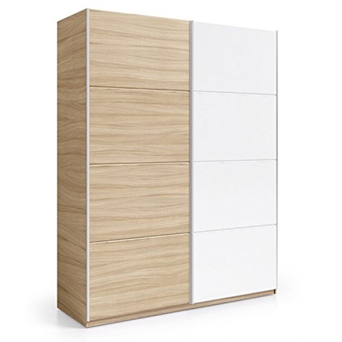 Habitdesign ARC184W - Armario 2 Puertas correderas, Color Nature y Blanco Brillo,...
