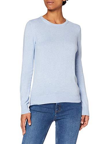 Amazon-Marke: MERAKI Baumwoll-Pullover Damen mit Rundhals, Blau (Ocean Blue), 36, Label: S