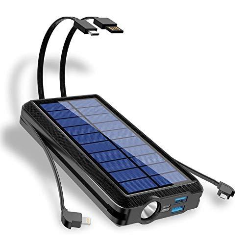 Banco Energía Solar 30000mAh, Cargador Solar Cargador Portátil Alta Capacidad Carga Rápida, con 2 Salidas Compatibles para Actividades Al Aire Libre, Compatible con Teléfonos Inteligentes
