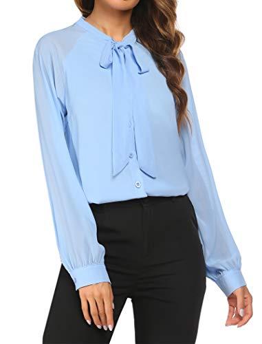 ACEVOG Women's Bow Tie Neck Long Sleeve Shirt Blouse Tops,Light Blue,X-Large