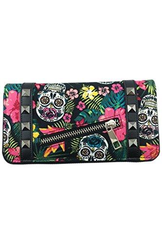 Banned - Damen Geldbörse Portemonnaie - Hibiscus Skull (Multicolor)