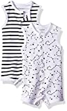 Hanes Ultimate Baby Flexy 2 Pack Sleeveless Rompers, Black Stripe, 6-12 Months