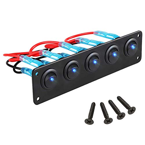 Gaoominy Panel de Interruptores Basculantes con 5 Interruptores de Palanca Pre-Cableados de Encendido/Apagado para 12V 24V Coche VehíCulo Remolque CamióN SUV Barco Marino RV Barco