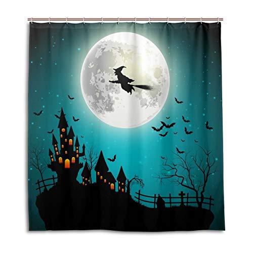 CPYang Duschvorhänge Happy Halloween Mond Hexe Wasserdicht Schimmelresistent Bad Vorhang Badezimmer Home Decor 168 x 182 cm mit 12 Haken