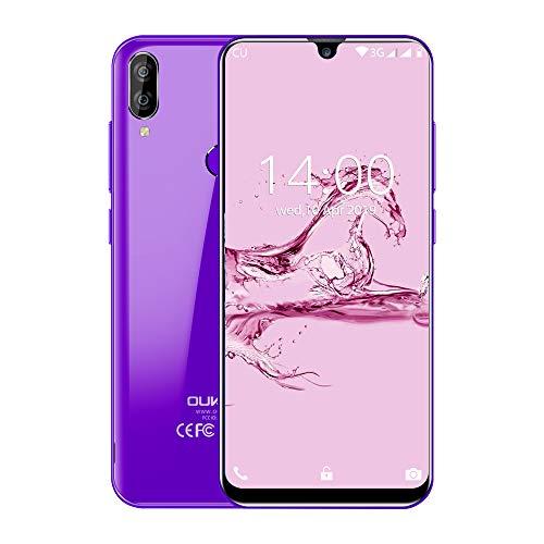 OUKITEL C16 Smartphone, 5.71' 3G Teléfono Móvil, Android 9.0 Quad Core, 2GB+16GB, Cámara 8MP+2MP+5MP, Dual SIM, Sensor de Huella Dactilar, Reconocimiento Facial, Morado