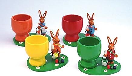 Preisvergleich für Eierbecher mit Hase (4fach sortiert) (1PRO KAUF) BxTxH 8 x 6 x 6,2 cm NEU Osterdeko Osterfigur