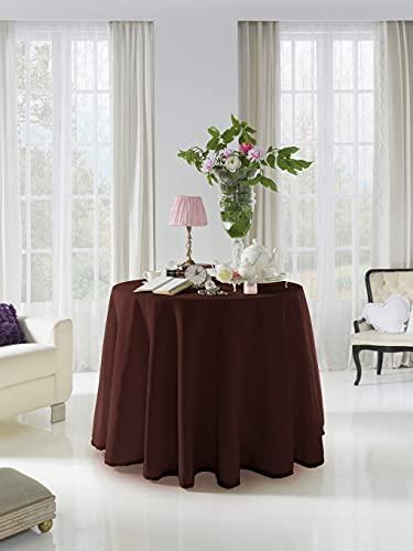 Acomoda Textil - Falda para Mesa Camilla Terciopelo, Redonda - Rectangular, Suave y Cálida de Invierno.(Redonda 80 cm, Chocolate)
