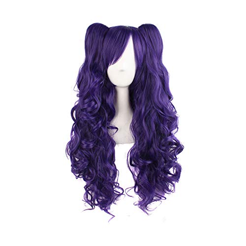 """MapofBeauty 28""""/70cm Lolita Long Curly Clip on Ponytails Cosplay Wig (Purple)"""