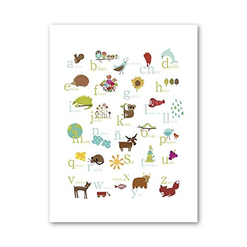 Lyrdream Spanish Animal Alphabet Nature Theme Education, Canvas Poster, Kindergarten Wall Decoration-50X70Cm