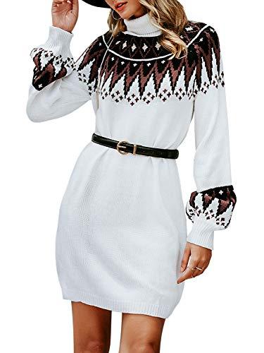 Simplee Women's Turtleneck Lantern Sleeve Mini Knitted Elegant Pullover Sweater Dress (White 4/6)