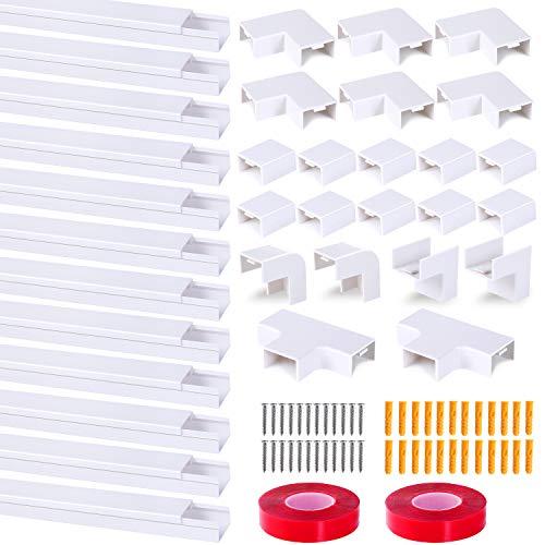 Kabelkanäle Selbstklebender 12er Pack Kabelkanal, Mini Kabel Verstecken Kabelkanal Weiß mit Schaumklebeband fertig für alle Netzkabel in Haushalt/Büro (2,5 x 1,6 x 80cm / 12 x 0.8m)