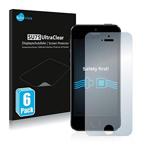 savvies 6-Pezzi Pellicola Protettiva Compatibile con iPhone 5 / 5S / 5C / SE 2016 Protezione Schermo Trasparente