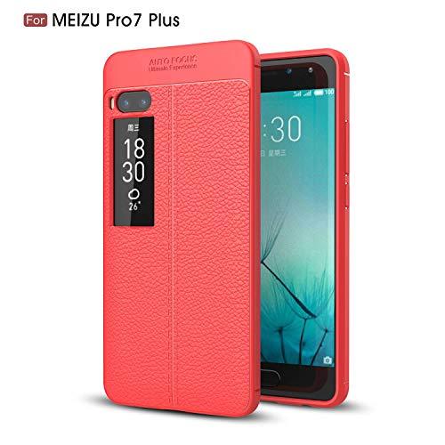 Ycloud Silikon TPU Schutzhülle für Meizu Pro 7 Plus Weich Ultra Dünn Hülle Stoßfest Anti-rutsch Back Cover Litschi Textur Rot Tasche für Meizu Pro 7 Plus
