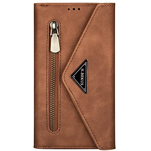 Blllue Crossbody Wallet Case Compatible con Huawei Mate 30 Lite, 7 Tarjetero Cremallera Cartera Cartera Funda con Correa de Hombro para Mate 30 Lite - Marrón