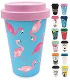 holi. Coffee-to-Go Bambus-Becher mit Schraubdeckel, Filz-Manschette | nachhaltiger Kaffeebecher mit Verschluss | Mehrweg-Becher Bamboo-Cup | Woodcup spülmaschinenfest (Flamingo Flieder)