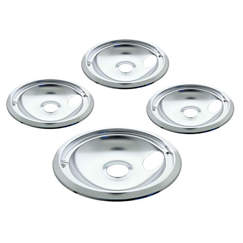 "Kitchen Basics 101 119204XZ Style B Chrome 4 Pack Drip Bowls 3 Small 6"" and 1 Large 8"" Replacement for GE"
