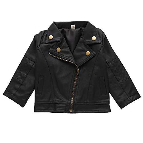 Zerowin Boys Girls Kids PU Leather Jacket Lapel PU Coat Short Black Jacket for Baby (12-18 Months/5, Boys)