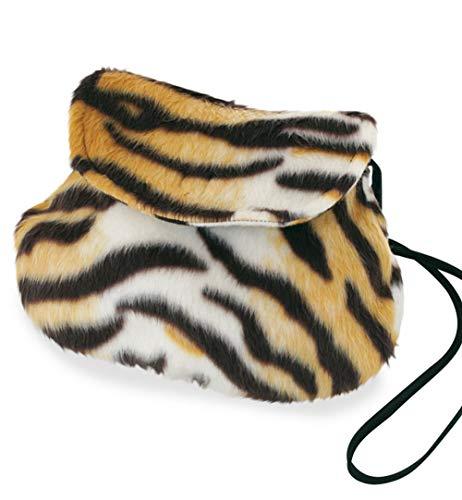 KarnevalsTeufel Plüschtasche, Verschiedene Designs, Umhängetasche, Tier-Prints, Accessoire, Ergänzung zu Ihrem Kostüm, Handtasche, Tasche, große Auswahl (Tiger)