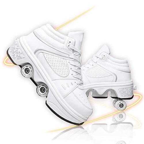 MQJ Zapatos de Rodillos Zapatos de Polea Invisibles Doble Fila Deform Wheel Roller Roller Skates Batería de Litio Recargable Incorporada Y 7 Colores Que Cambian la Barra de Luz,Blanco Led,Eu 41 (Us 9