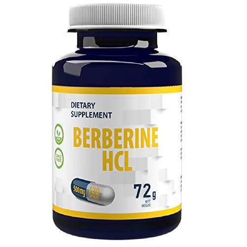 Berberina HCL 500mg 120 Vegan Capsules, Controllo della glicemia e del colesterolo