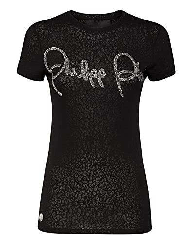 Philipp Plein Femenino T-Shirt Round Neck SS Signature Negro Small