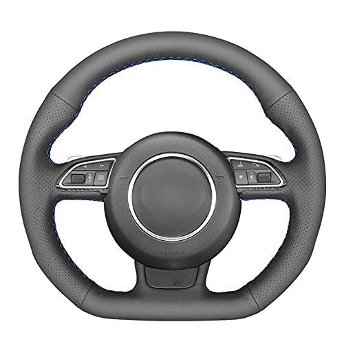 MPOQZI Treccia per Volante in Pelle Nera PU, Adatta per Audi S1 8X S3 8V Sportback S4 B8 Avant S5 8T S6 C7 S7 G8 RS Q3 8U SQ5
