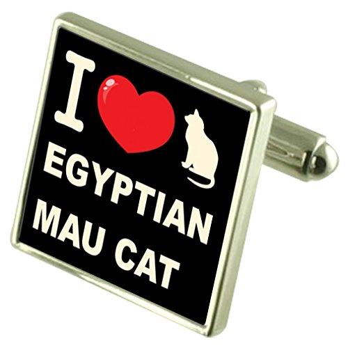 Select Gifts Me Encanta mi Gato Plata 925 Gemelos Bond Money Clip Gato MAU Egipcio