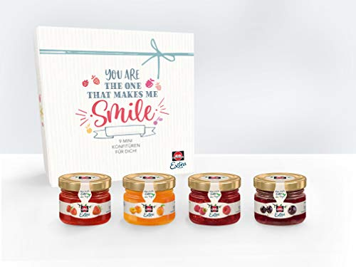 Schwartau Extra Mini-Konfitüre Geschenkset, 9er Set Mini-Marmeladengläser (3x Erdbeere, 2x Aprikose, 2x Himbeere, 2x Schwarzkirsche)